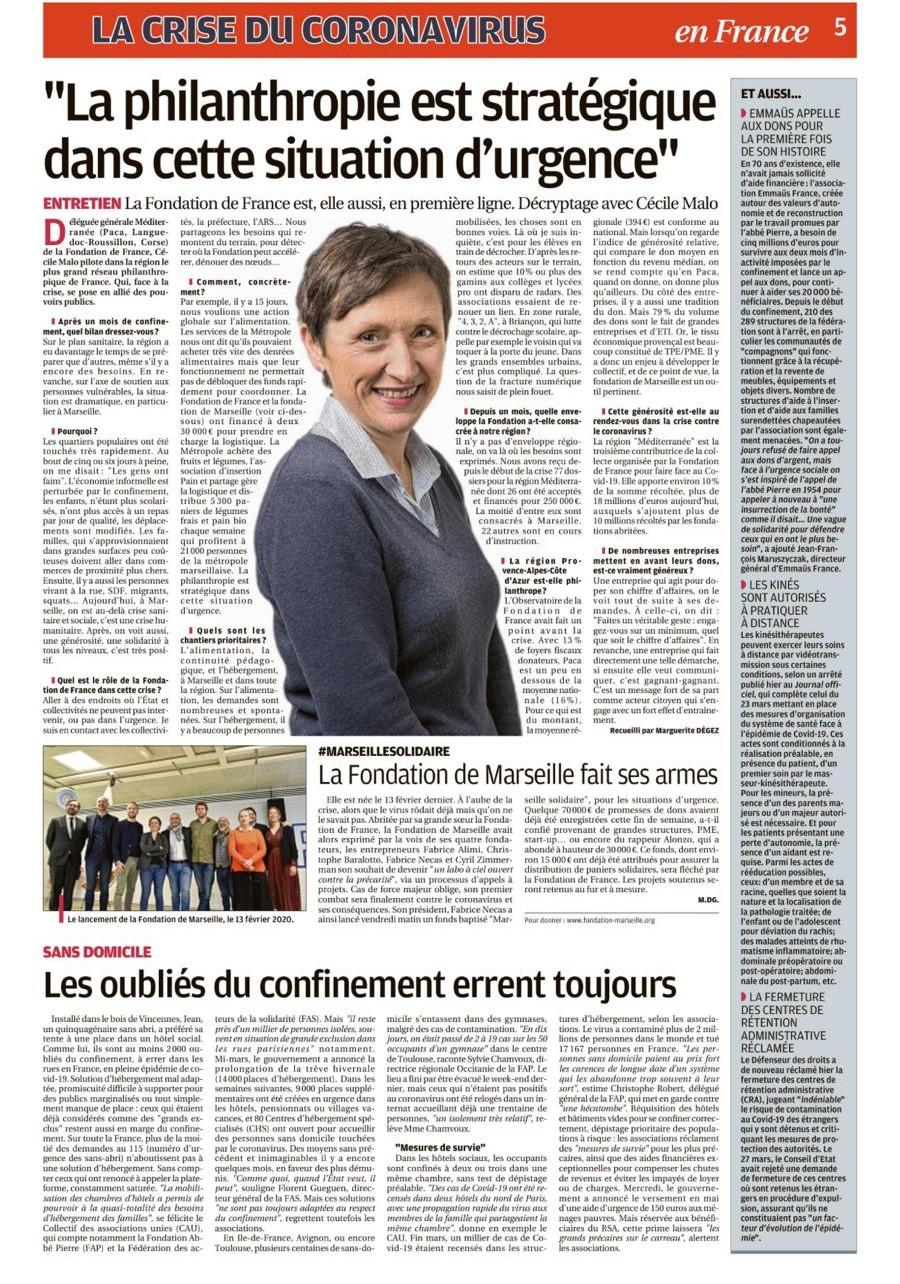 CAP AU NORD ENTREPRENDRE S'ENGAGE AVEC LA FONDATION DE MARSEILLE ET LA FONDATION DE FRANCE